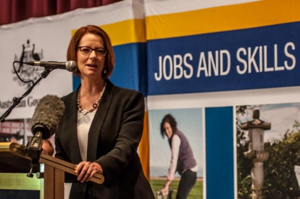 Prime Minister Julia Gillard opens the 70th Jobs and Skills Expo at the Derwent Entertainment Centre in Hobart (c) Rob Walls 2013