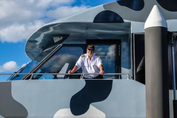 Skipper of the Museum of New and Old Art ferry, the MONA Roma, Tasmania © Rob Walls 2014
